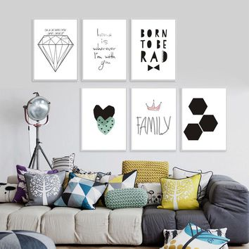 Nordic Geometry Black White Quotes Canvas And Painting Wall Pictures Kids Children Living Room Poster Art Prints Decoration