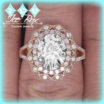 Moissanite Engagement Ring  8 x 10mm 3ct Oval in a 14K Rose Gold Lacy Diamond Halo Setting