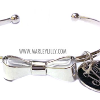 Monogrammed German Silver Gold Tone Bow Bracelet | Marley Lilly
