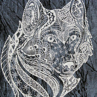 Wolf Quilt Block, Machine Embroidered, Gray Wolf on Black Cracked Ice Cotton, Zentangle style, Made to Order, DIY Quilt Square