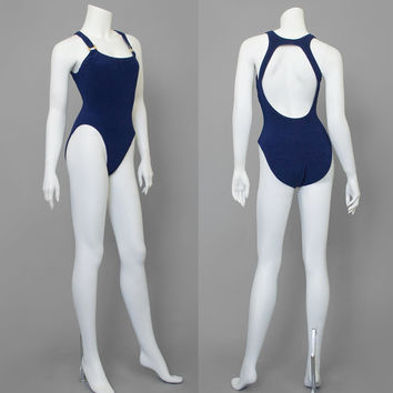 Vintage 80s Swimsuit / Navy Blue Bathing Suit w/ Gold Buckles / 1980s Swimwear / Ribbed One Piece Swimsuit / High Cut Open Back Swim Suit M
