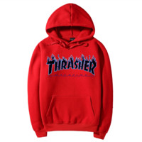 """""""Thrasher""""Quality hooded sweater flame slide hip sweater Red"""