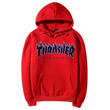 """Thrasher""Quality hooded sweater flame slide hip sweater Red"