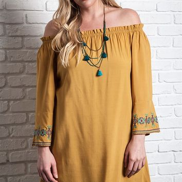 Umgee Plus Off Shoulder Mustard Tunic Top with Embroidery on Sleeves