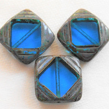 Lot of six 15mm x 15mm large transparent blue, square, table cut, carved Czech glass window beads with a gray picasso finish C91201