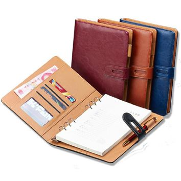 A6 A5 B5 A4 filofax business PU leather diary cover agenda blue/wine/black/ office professional planner book