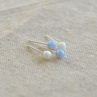 opal stud earring,sterling silver earring  20G opal bridesmaid earring