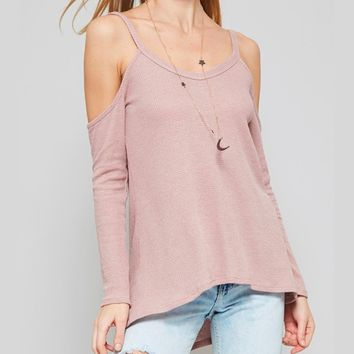long sleeve cold shoulder thermal top - dusty rose