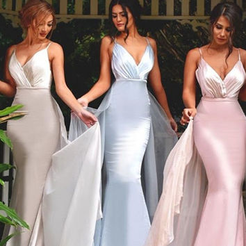 Cecelle 2016 Low V Neck Mermaid Chiffon Satin Bridesmaid Dresses Long Spaghetti Straps Maids Honor Dresses Wedding Party Gowns