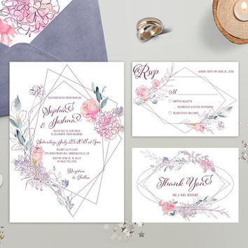 Minimalist Wedding Invitation Set Printed Geometric Floral Wedding Invite Pink Mauve Modern Spring Summer Wedding invite RSVP Thank You Card
