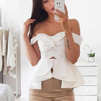 Hollow Out Sexy Party Women Blouse Off Shoulder Ruffles Tops Shirt Slash Neck Backless Blusas