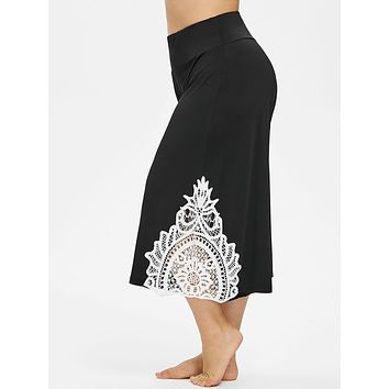 High Waist Lace Panel Palazzo Pants for Women 6445
