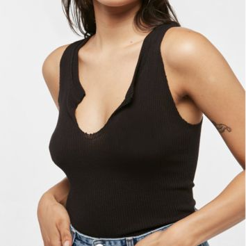Project Social T Ribbed Notch Neck Inca Tank | Black