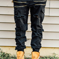 BATTLE SCAR CARGO RIPPED JEANS