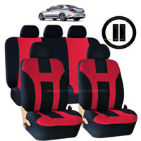 12PC RED & BLACK DOUBLE STITCH SEAT COVER & STEERING WHEEL COMBO FOR CARS 1023