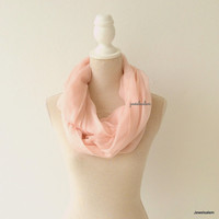 Infinity Scarf Pink Blush Soft Pastel Light Peach Circle Scarf Lightweight Modern Loop Tube Scarf for Travel Bohemian Summer Autumn