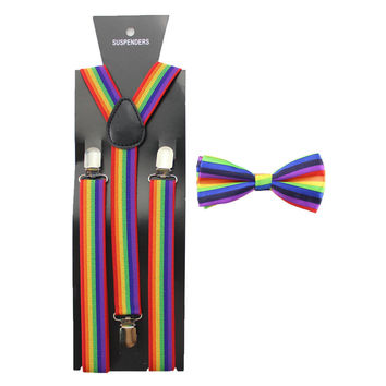 Rainbow Suspenders Includes Free Bow Tie