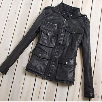 women's fashion M65 leather jacket with pockets black sheepskin genuine leather coat women slim fit motorcycle jacket lady