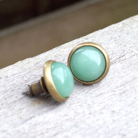 Green Aventurine Gemstone Post Earrings
