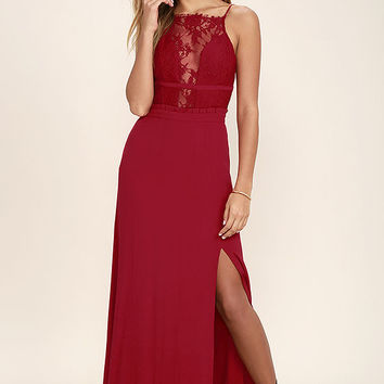 NBD Stephania Red Lace Backless Maxi Dress