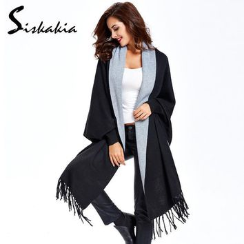 Women Outerwear Coat Oversized Long Knitted Cashmere Poncho
