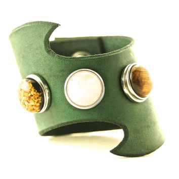 Handmade Personalized Green Leather Cuff Bracelet/Custom Leather Cuff/Boho Cuff Bracelet/Robin Hood Cuff/Once Upon A Time Bracelet