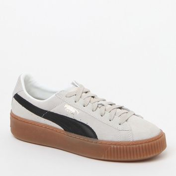 Puma Women's White Suede Platform Core Sneakers at PacSun.com