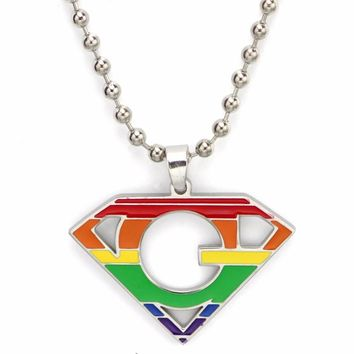 NECKLACE LGBT Best Friend Gay Pride LGBT Necklace for Men Women Rainbow Pendents Necklaces Fashion Jewelry Personalized Super Deals Gifts