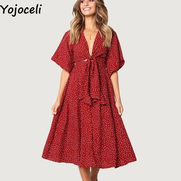 Yojoceli Elegant casual polka dot dress women Sexy bow daily knee length dress vestidos Summer beach party dresses