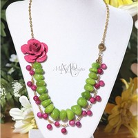 Polished Lime Amethyst Shell Metal Rose Pendant Necklace