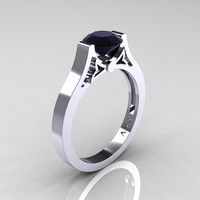 Modern 14K White Gold Luxurious and Simple Engagement Ring or Wedding Ring with a 1.0 Ct Black Diamond Center Stone R668-14KWGBD