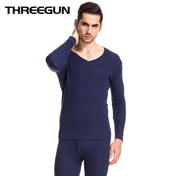 Men's Underwear V-Neck Warm Long Johns Set Ultra-Soft Thin Thermal Underwear Undershirts Male Set