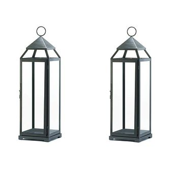 10 Brushed Silver Extra Tall Lanterns