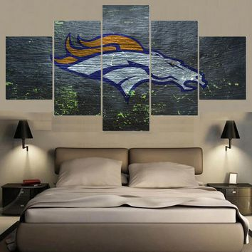 Modern Home Decor Picture Denver Broncos 5 Panel Canvas Painting Calligraphy Sport Ball Team Poster Wall Art Paintings