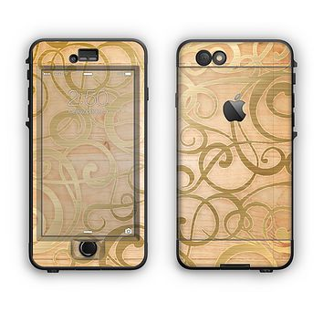 The Bright Gold Spiral Wood Pattern Apple iPhone 6 LifeProof Nuud Case Skin Set