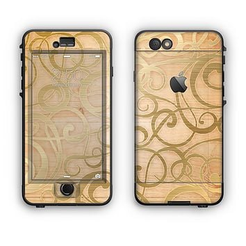 The Bright Gold Spiral Wood Pattern Apple iPhone 6 Plus LifeProof Nuud Case Skin Set