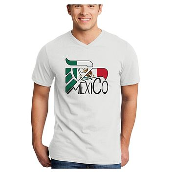 Mexico Eagle Symbol - Mexican Flag - Mexico Adult V-Neck T-shirt by TooLoud