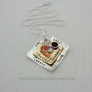 Blessed Mom Two Layered Squares Necklace, Personalized Hand Stamped Jewelry, Mother Necklace with Birthstones