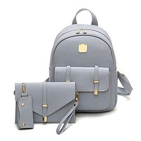 Ladies Cute Leather Backpack Three Sets