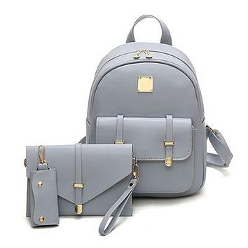 3pc Buckle Design Backpack Set