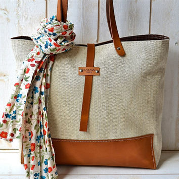 Eco friendly ORGANIC LINEN Medium  French  tote bag  by ikabags