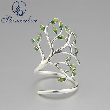 Slovecabin Vintage 925 Sterling Silver Finger Party Rings For Women Sterling Silver Jewelry Tree Shape Bague Silver Wedding Ring