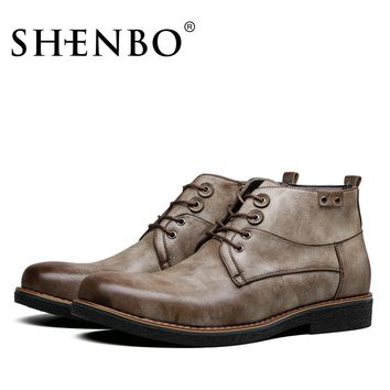 SHENBO Brand New Arrival Printing Men Boots, High Quality Men Ankle Boots, Casual Men Autumn Boots
