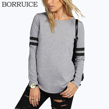 BORRUICE Casual T shirt O-Neck Blusa Harajuku Long Sleeve T shirt Women Striped Splice Women Tops Fashion Tees Femme Ropa Mujer