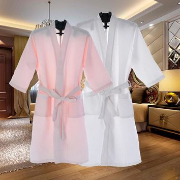Unisex Thin Summer Kimono Fashion Robe Men Women Sexy Bathrobe Waffle Robes Soft Peignoir Homme Badjas Sleep Lounge Sleepwear