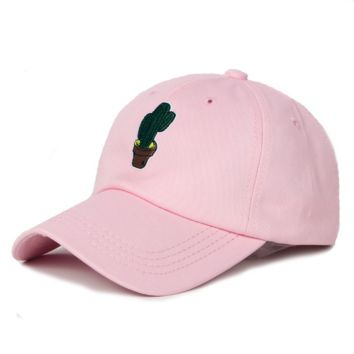 Pink Unisex Men Women Adjustable Cotton Baseball Cap Cactus Embroidered Plain Hat