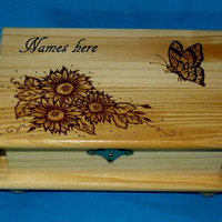 Decorative Wood Burned Jewelry Box Wooden Butterfly Jewelry Chest Organizer Holder Gift