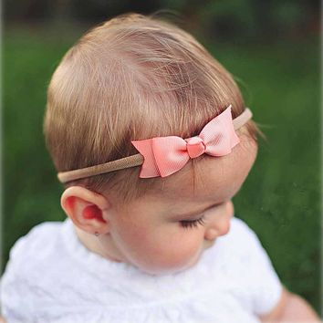 1 PC Boutique Two Layers Grosgrain Ribbon Bow Nylon Headband For Kids Girls Elastic Hair Band Hair Accessories