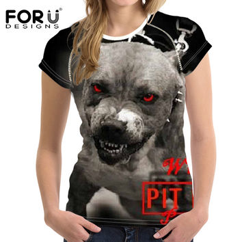 FORUDESIGNS T-Shirt Pit Bull Dog Terrier Prints Women Tops Fashion T Shirt Cool 3D Pug Cat Tshirt Female Clothes Women Punk Rock