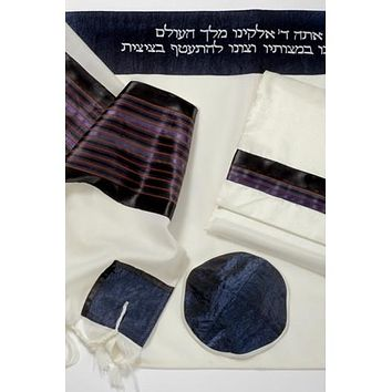 Fancy Blue Red Wool Tallit